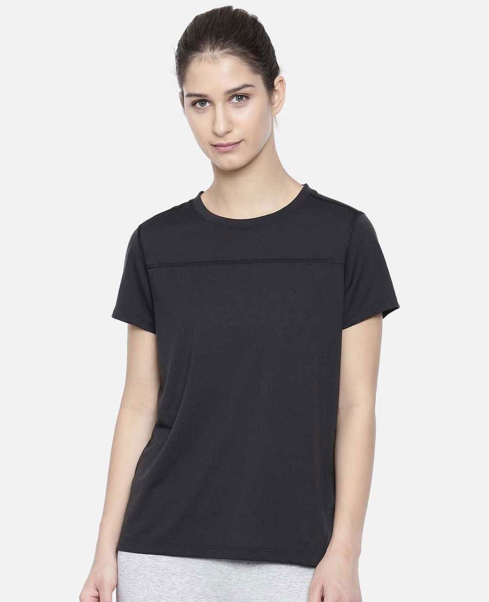 Black Solid Round Neck Dry-Cell T-Shirt DS-11501